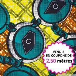 Wax africain chaine vert et jaune,  vendu en coupon de 2,50 mètres