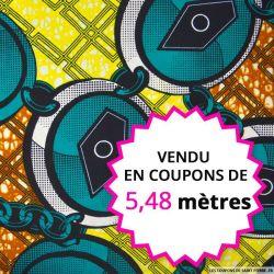 Wax africain chaine vert et jaune, vendu en coupon de 5,48 mètres