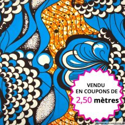 Wax africain coquillage bleu et orange, vendu en coupon de 2,50 mètres