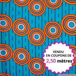 Wax africain cercle orange fond vert, vendu en coupon de 2,50 mètres