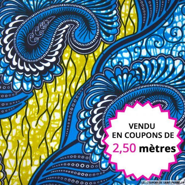 Wax africain cachemire bleu et vert, vendu en coupon de 2,50 mètres