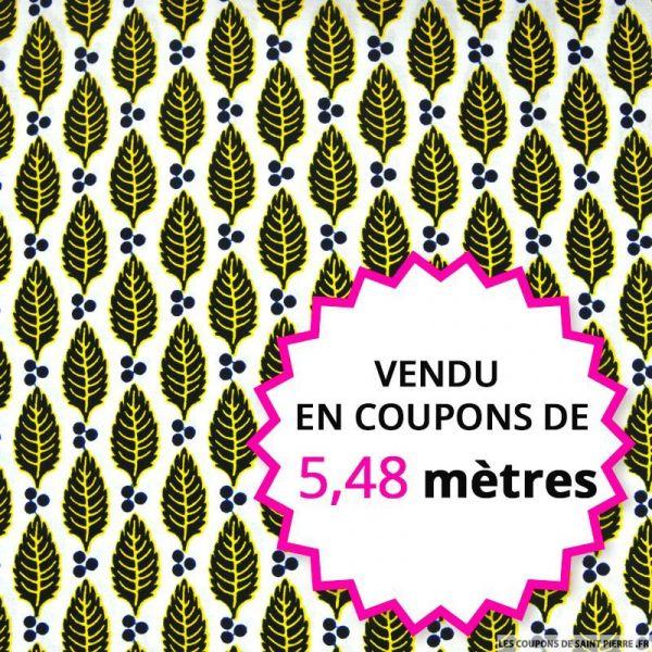 Wax africain feuilles jaune fond blanc, vendu en coupon de 5,48 mètres