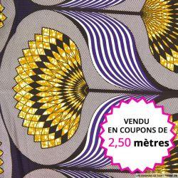 Wax africain grand éventail violet, vendu en coupon de 2,50 mètres