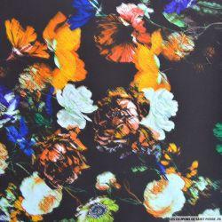 Popeline de coton imprimé botanique fond marron
