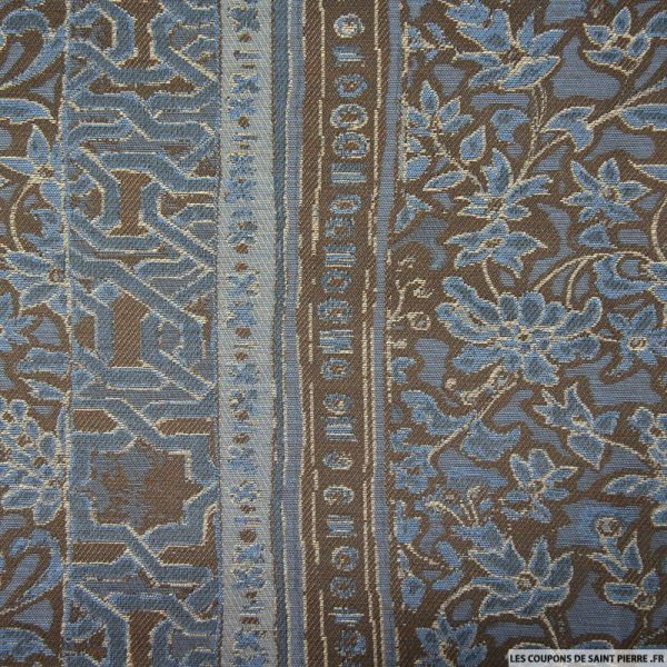 Jacquard polycoton fleurs bleu et marron