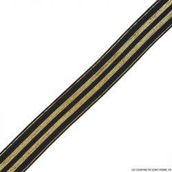 Elastique rayures lurex noir or - 30mm au mètre
