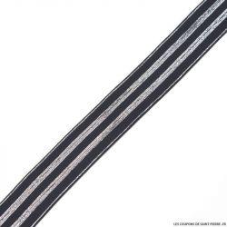 Elastique rayures lurex noir argent - 30mm au mètre