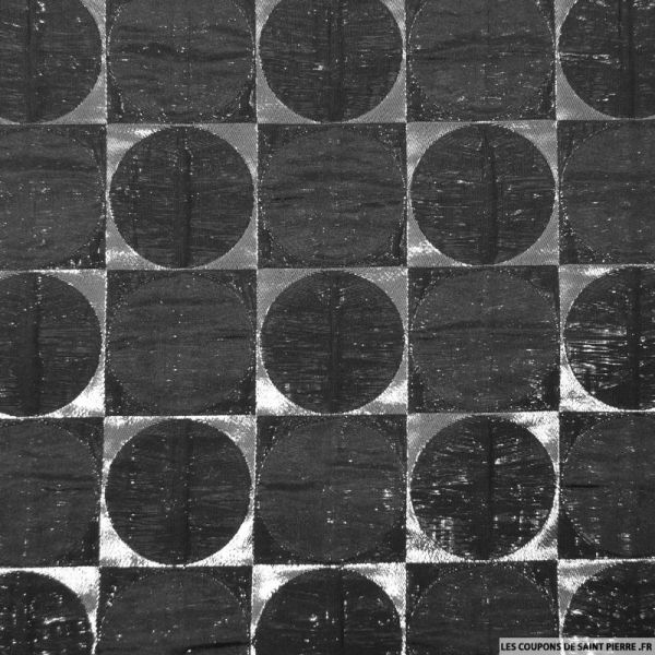 Polycoton contrecollé vintage à pois noir et argent