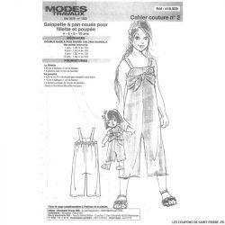 Patron n°418 509 Modes & Travaux - Salopette à pan noués pour fillette et poupée