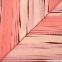 Jacquard voile de polycoton rayures rose