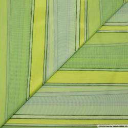 Jacquard voile de polycoton rayures vert