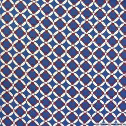 Crêpe polyester chaine bordeaux et bleu