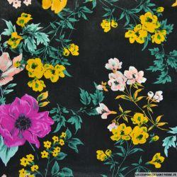 Satin polyester imprimé sellerie équestre fond noir