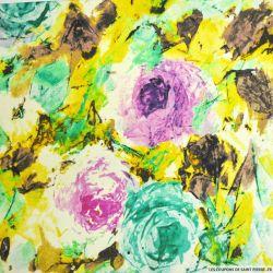 Doupion coton et soie imprimé artistique vert d'eau