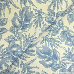 Lin mélangé fleurs bleues fond beige