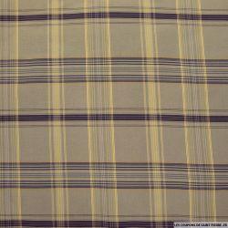 Taffetas polyester carreaux violet fond beige