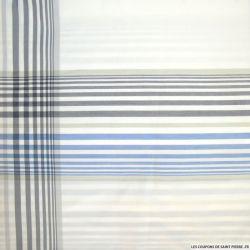 Taffetas polycoton à carreaux bleu et gris