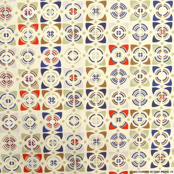 Coton imprimé vintage bleu et rouge