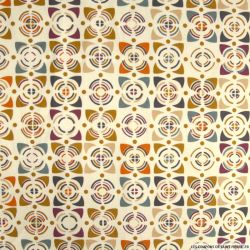 Coton imprimé vintage marron et violet