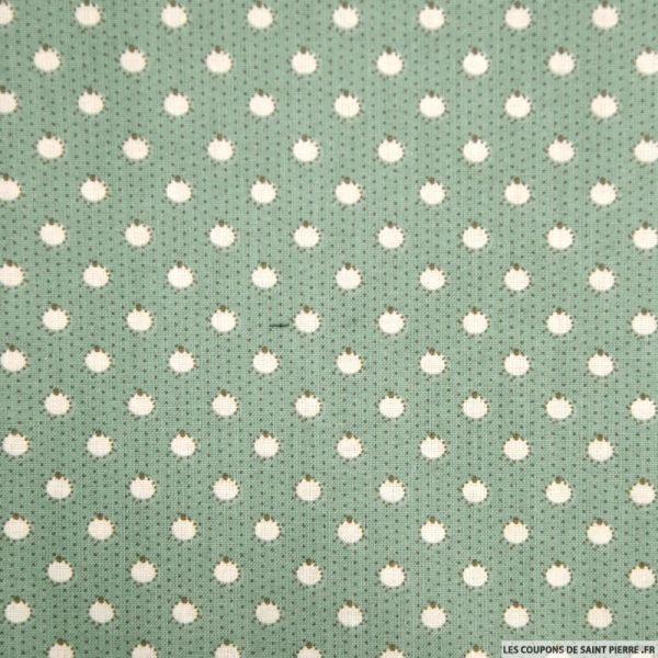 Coton imprimé pomme fond vert