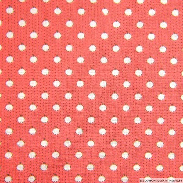 Coton imprimé pomme fond rouge