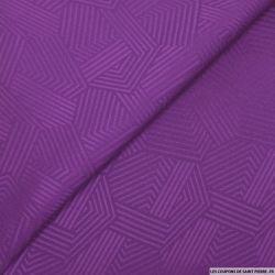 Jacquard polycoton géométrique violet