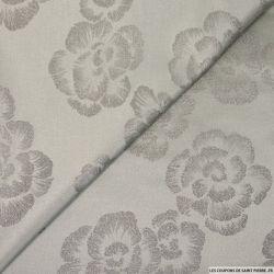 Jacquard polyester fleurs hibiscus argent irisé