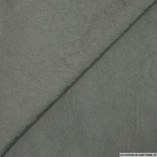 Taffetas polyester froissé gris
