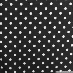 Coton imprimé à pois 6mm fond noir