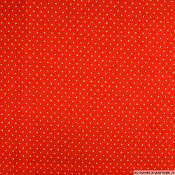 Coton imprimé à pois 2mm fond rouge