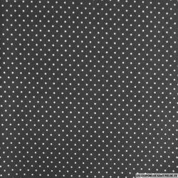 Coton imprimé à pois 2mm fond noir