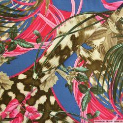 Viscose imprimée tropicale fuchsia fond marine