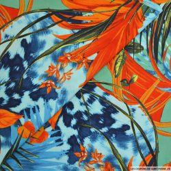 Viscose imprimée tropicale orange fond vert