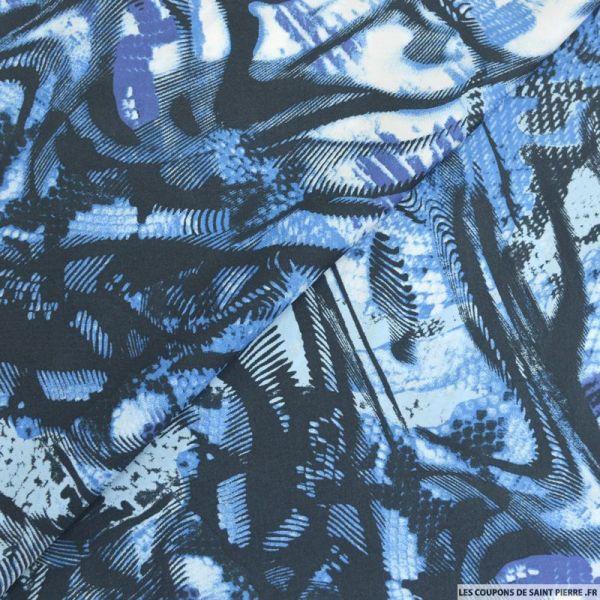 Satin polyester imprimé arty bleu