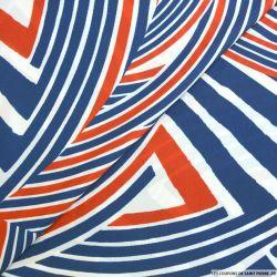 Satin polyester imprimé déstructuré bleu blanc rouge