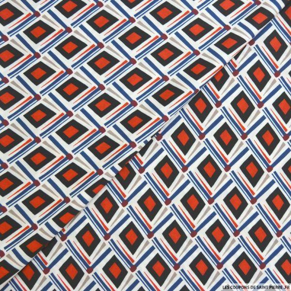 Satin polyester imprimé art déco rouge et bleu