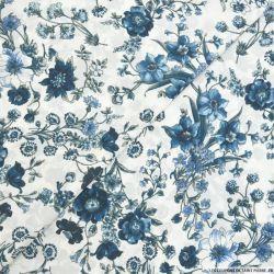 Crêpe polyester imprimé fleurs bleu fond blanc