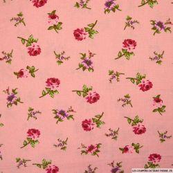 Lin viscose imprimé rosiers fond rose