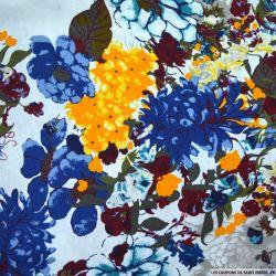 Lin viscose imprimé fleurs sauvages fond écru