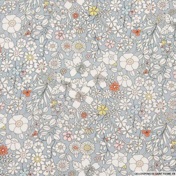 Coton liberty ® June's meadow gris au mètre