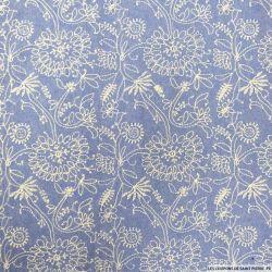 Jean's coton fin brodé champêtre fond bleu clair