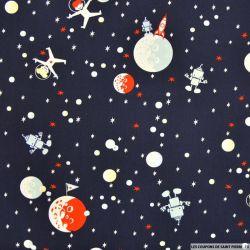 Coton imprimé astronaute fond marine