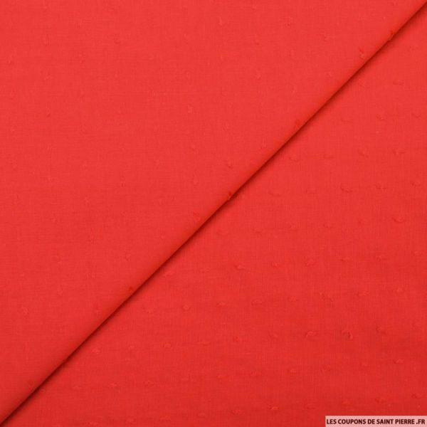 Voile de coton Plumetis rouge