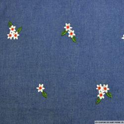 Jean's coton fin brodé oiseaux de la paix fond bleu