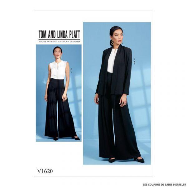 Patron Vogue V1620 :  Veste haut et pantalon chic