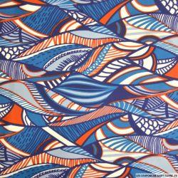 Maille maillot de bain imprimé ethnique bleu
