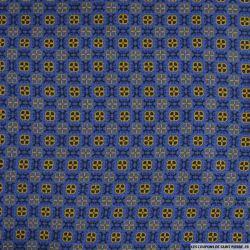 Viscose imprimée labyrinthe fond bleu