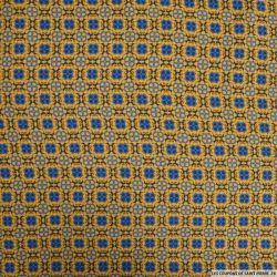 Viscose imprimée labyrinthe fond camel