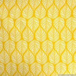 Polyester imprimé feuillage fond ocre