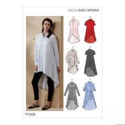 Patron Vogue V9360 : Chemise boutonnée